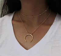 Fashion Women Double Layers Chain Moon Pendant Necklace Choker Jewelry