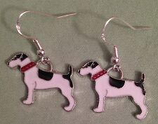 Jack Russell Terrier Dog Earrings - Enamel w/Sterling Silver Ear Wires Parsons