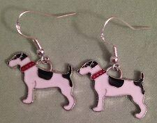 Jack Russell Terrier Dog Earrings - Enamel w/Sterling Silver Ear Wires Parsons