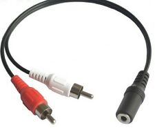 3.5mm Stereo Female To 2 RCA Analog Male Jacks 6cm Cable Adapter