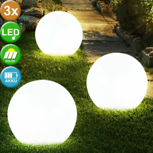 3er Set LED Außen Solar Steck Leuchten Garten Beleuchtungen Kugel Steh Lampen