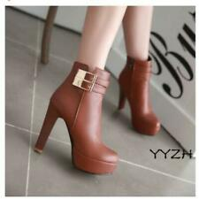 Fall Women's Round Toe side zip Buckle Platform High Heel ankle Boots Punk Shoes