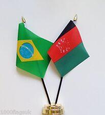Brazil & Afghanistan Double Friendship Table Flag Set