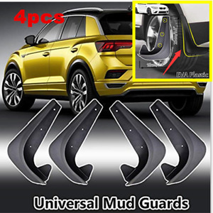 4x Black Deluxe Body Protector Molded Front & Rear Splash Guards Mud Flaps Trim