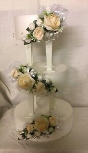 wedding flowers Champagne & white roses & White ribbons cake 3 tier topper
