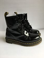 Dr Martens 1460 Airwair Leather Women Ankle Boots Patent Black size 6 EUC