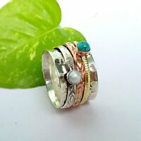 Turquoise Solid 925 Sterling Silver Spinner Ring Meditation Ring Size T ra 621
