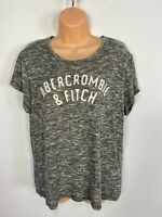 WOMENS ABERCROMBIE & FITCH SIZE LARGE GREY MARL LOGO FRONT FINE KNIT T SHIRT TOP