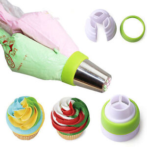 Icing Piping Bag Russian Nozzle Converter Coupler Cake Cream Decor 3-Color Tool