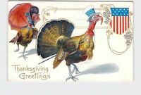 PPC POSTCARD THANKSGIVING GREETINGS TURKEY PATRIOTIC ANTHROPOMORPHIC MONOCLE TOP