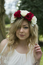 Large Red Ivory Rose Flower Hair Crown Headband Festival Garland Vintage Big R91