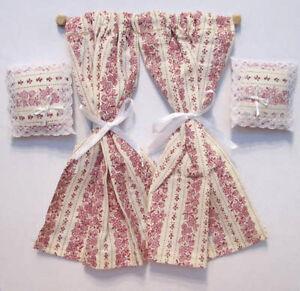 1/12 dolls house Miniature Pink Curtains & Cushions window windows Rail diy LGW