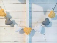 Handmade Fabric Shabby Chic Heart Wedding Nursery Bunting Grey Mustard Yellow