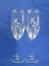 Browning Deer Hunting Wedding Glasses Flute Engraved Personalized FREE