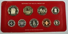 1980 Republic of Malta Proof Set, 9 Gem Coins, Made by the Franklin Mint W/ COA