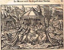 """Leclerc's Bible Figures - Woodcut - """"LA MANNE MISE EN DEPOST DANS L'ARCHE"""" -1614"""