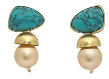 Brand New Vintage Look Handmade Turquoise & Pearl 18k Gold Plated Earrings