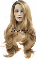 Blonde Lace Front Wig Dark Root Heat Resistant Synthetic Silky Long Wavy Hair