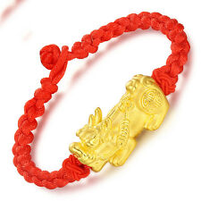 Authentic 24K Yellow Gold 3D Lovely Big Pixiu Braided Red Bracelet 16cm L