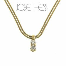 "Designer Jose Hess 161663A 18k Gold 2 Diamond Pendant Double Chain Necklace 25"""