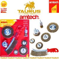 7 x AMTECH Wire Brush Set Heavy Duty Flat Wheel Cup Metal Rust Cleaning Drill UK