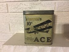 """C1900'S """"POPPER'S ACE"""" TIN  LITHO CIGAR Can WITH BIPlane  AIRPLANES"""