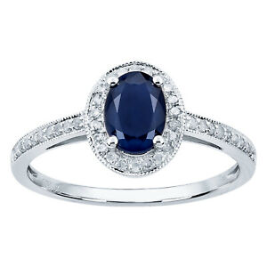 10k White Gold Genuine Oval Sapphire and Diamond Halo Ring