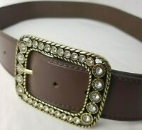 Womens Belt GAP Rhinestone Buckle Leather Brown Size M Made in USA