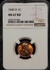 1945-D LINCOLN WHEAT EARS CENT NGC MS 67 RED 008