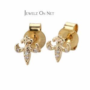 14K Gold 0.03 Ct. Diamond Fleur-de-lis Earrings with Flatback