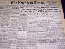1939 APRIL 8 NEW YORK TIMES - ALBANIANS RESIST ITALIANS - NT 3074
