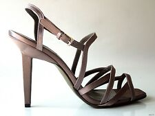 new $495 CALVIN KLEIN Collection gray satin strappy shoes heels Italy 40 10 SEXY