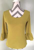 J. JILL Womens Green Yellow Scoop Neck Ruffle Cuff 3/4 Sleeve Blouse Top S EUC