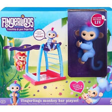 BLUE LIV & MONKEY BAR PLAYSET - FINGERLINGS Pet Baby Monkey REAL FINGERLING