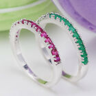 925 Sterling Silver Women Ruby Emerald Ring Wedding Band Women Simple Jewelry