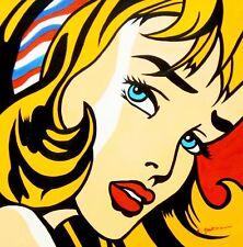 Hommage à Roy Lichtenstein-Fille Avec Cheveux Bande 60x60 cm Reproduction Peinture à l'huile