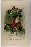 Christmas~ Winsch~ Santa Claus Driving Bus with Children ~Antique Postcard--a470