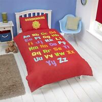 ALPHABET NUMBERS SHAPES RED WHITE REVERSIBLE COTTON BLEND SINGLE DUVET COVER