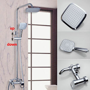 "8"" Bathroom Rainfall Shower Faucet Set Head Hand Sprayer Mixer Value Tub Taps"