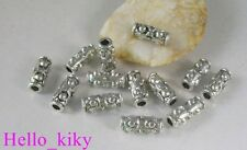 40Pcs Tibetan silver dotted tube spacer beads A8222