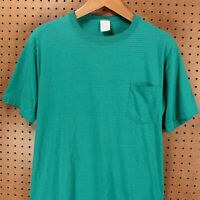 vtg 90s usa single stitch selvedge pocket t-shirt LARGE striped teal TOWNCRAFT