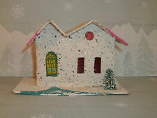 Vintage Christmas Paper PUTZ HOUSE White & Pink Made in JAPAN C601