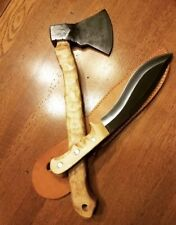 A MEDIEVAL CUSTOM FORGED DAMASCUS STEEL P TOMAHAWK WITH HUNTING KNIVE