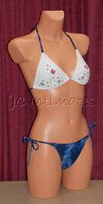Sexy 2 pc Anisea String Bikini Swimsuit-White/Blue(L)