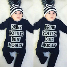 AU Stock Newborn Infant Baby Boy Girl Long Sleeve Romper Bodysuit Cotton Clothes