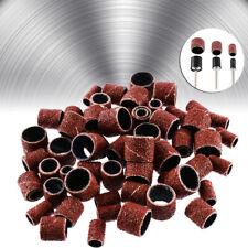 "63pcs 80Grit Drum Sanding Bands Sand Mandrels 1/2 3/8 1/4"" For Nail Drill Kit"