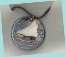 Ladies' Action Skate Hand Painted Wooden High Glitter Necklace by Cheryl Lee
