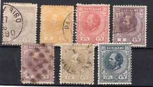 SURINAME, 7 DIFFERENT CLASSIC STAMPS, VF