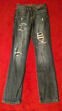 Aeropostale Skinny Destroyed High Waisted Blue Jeans Size 000 Reg (W24 L29)