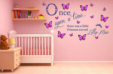 Personalised Name, 3D Butterflies Princess, Wall Art Sticker. Once upon a time